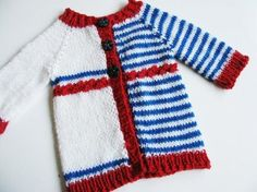 """Previously known as """"Yet to be named cardigan"""", the name of this pattern has been changed to Yikes Stripes!My first baby design - a simple top down baby cardigan with assymetric intarsia stripes. Enough happening to keep your interest! :)June 2012:Pattern has been re-worked! * Instructions are now more thorough and easier to read. * Pattern now has 8 sizes instead of 3, all of them worked in DK weight yarn. *"""