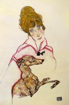 Egon Schiele. Woman with Greyhound (1916).