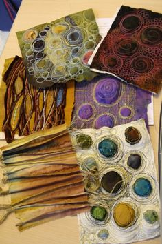 Great texture from Fibrearts on Tumblr...could use matte board or cardboard canvas, felt circles or painted bubble wrap bubbles, yarn and or floss thread dipped in starch to adhere to the cardboard....