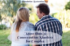 So, you finally get some time alone with your spouse. Now what?! Here are a ton of tips and a free printable with over 30 conversations starters to help you reconnect, laugh, and build intimacy with each other >> http://foundationrestoration.org/2013/10/conversation-starters-for-couples/