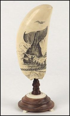 Two Sided Scrimshaw Whale Tooth on Wood and Ivory : Lot 132-8020 #scrimshaw #whaletooth #nautical