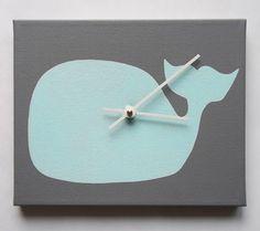 14 Handmade Clocks For Your Baby's Nursery Whale Nursery, Nautical Nursery, Nautical Baby, Sea Nursery, Baby Boy Rooms, Baby Room, Boys Room Decor, Kids Room, Monster Room