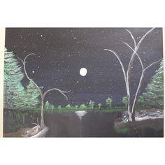 Midnight Scene Hand Painting Art, Acrylic Painting Canvas, Paint Types, Custom Paint, Christmas Sale, Auction, Scene, Hand Painted, Artwork