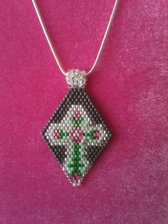 Handbeaded Cross Pendant/Handmade Cross by SeedBeadingByRGR, $20.00