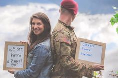Military Wife Tells Husband She's Pregnant During Their Photo Shoot! - Schwanger Military Wife Tells Military Pregnancy Announcement, Pregnancy Announcement To Husband, Pregnancy Advice, Pregnancy Signs, Surprise Pregnancy, Happy Pregnancy, Pregnancy Belly, Pregnancy Dress, Cool Ideas