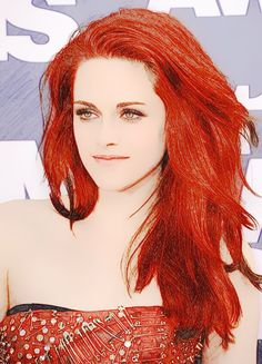 Kristen Stewart with red hair.