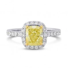 Fancy Yellow Cushion Diamond Carriage Halo Ring, SKU 3434R (1.6Ct TW)