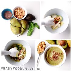 Homemade babyfood: Avocado, chick pea, pear puree This was a wondeful comb… – Nicole Goodson – Homemade baby foods Baby Puree Recipes, Pea Recipes, Pureed Food Recipes, Baby Food Recipes, Toddler Meals, Kids Meals, Toddler Food, Pea Baby Food, Baby Puree