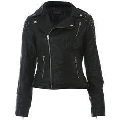 Mini Stud PU Biker Jacket ($100) ❤ liked on Polyvore