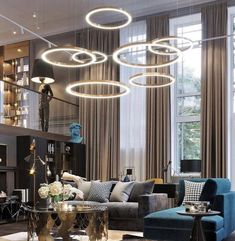 Description This circular lighting is perfect for a huge room. The high-rise roof and ample walking space in the room is the requirement of circular lighting. Remember, this particular lighting w. Contemporary Interior, Modern Interior Design, Interior Design Living Room, Scandinavian Interior, Room Interior, Interior Architecture, Living Room Sets, Living Room Modern, Living Room Decor
