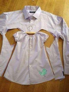 Zwei Fliegen mit einer Klappe. Die alten Hemden meines Mannes vernichten und ein neues Kleid für die kleine machen