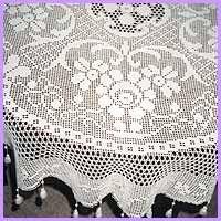 Filet Crochet Tablecloth.