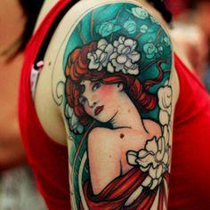 Art Nouveau Mucha Tattoo. #tattoo #tattoos #ink