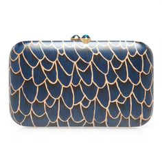 Blue wood marquetry feather clutch