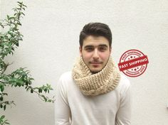 Knitted chunky scarf men scarf Infinity winter gifts by AtlasScarf