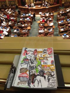 MI House of Representatives-Quick sketch during Right to Vote debate; Artwork and Photo by Shirley Hazlett. (Please do not remove credit!)
