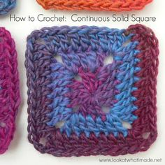Continuous Solid Square, free crochet pattern and photo tutorial by Look At What I Made