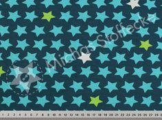 Michas Stoffecke - Stretch-Sweat Basic Stars petrol V-EP-PL-1312Sw-TS-EV