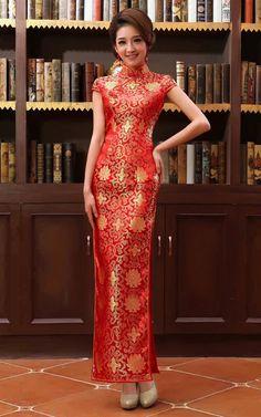 Gold flowers brocade red wedding qipao traditional Chinese mandarin collar sheath dress MSM-FT01-004