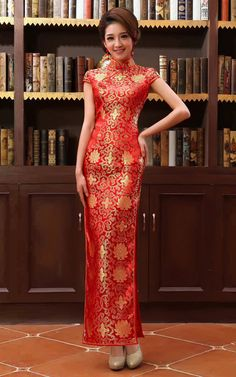 Gold flowers brocade red wedding qipao traditional Chinese mandarin collar sheath dress MSM-FT01-004