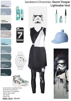 """Get the look at : https://www.facebook.com/crepe.black.collar.ro The next #Howto is: """"How to be sporty-chic"""":  Tossing a pair of #sneakers with anything won't work, you need to #coordinate the outfit.  #StormTrooper is wearing vest & shield from #CrepeBlackCollar, #WeAreHandsome leggings, #Lagerfeld case, #MarcJacobs watch, #Monki hat. Print by David Kraig, poster by Tim Lautensack"""
