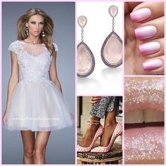 La Femme 20781 ~ short prom dress ~ pink ombre nails ~ glitter ~ cotton candy ~ blue dress ~ prom 2015 ~ short lace dress ~ cocktail dress ~ pink heels ~ prom inspiration ~