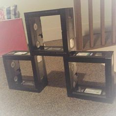 Industrial Unique, Home-made VHS Tape Shelves - - Stackable Vhs Crafts, Tape Crafts, Recycled Art, Repurposed, Vhs Cassette, Vhs Tapes, Grandma Crafts, Cd Diy, Tape Art