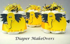 These adorable Mini Diaper Cakes are perfect for decorating at any baby shower. Excellent way to show off your creative style.  This listing is
