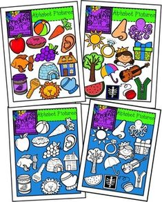 This 52-piece set is packed with a variety of images- one color and B for each letter of the alphabet. Included in this set are 26 vibrant, color images and 26 black and white versions. This set is perfect for alphabet signs for the classroom, letter sound resources, etc.$