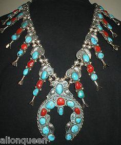 HUGE Vintage NAVAJO Sterling Silver TURQUOISE & CORAL Squash Blossom Necklace