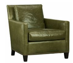This Is Our Arm Chair Moss Green Leather Studs Chair Crate And Barrel