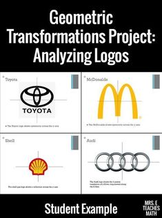 Math When it comes to my Transformations unit in Geometry, I have a mini-project that I like to use. First, I show different company logos in class and we talk about the different transformations we see Math 8, 7th Grade Math, Math Teacher, Math Classroom, Math Fractions, Guided Math, Sixth Grade, Math Games, Transformations Math