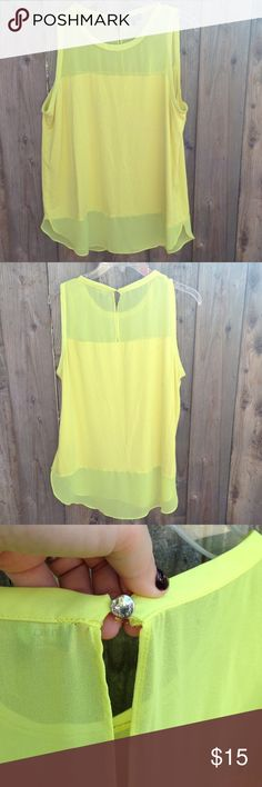 Lemon 🍋 colored Vince Camuto top Size L Vibrant lemon-lime colored Vince Camuto top is ready to be packaged and sent to you! Flowy and flattering. Some minor flaws on the back of the shirt as shown in photo 4. Steal of a deal! Vince Camuto Tops Blouses