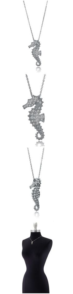Sterling Silver CZ Seahorse Fashion Necklace