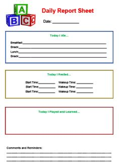 Daily Report Sheet Printable for Child Care