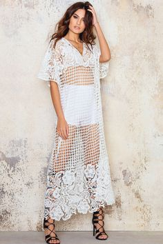 $83 Boho Crochet Maxi Caftan