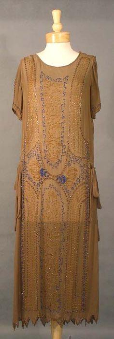 from the Roaring Twenties!  EXQUISITE Mocha Silk 1920's Cocktail Dress w/ Cobalt Beads