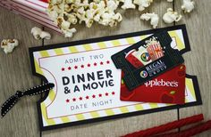 Wedding Gifts Restaurant and a Movie gift card - Send newlyweds on Date Night with this dinner and a movie gift card combo, perfect wedding gift or anniversary present. Date Night Gift Baskets, Gift Card Basket, Movie Night Gift Basket, Date Night Gifts, Movie Gift Baskets, Wedding Gifts For Newlyweds, Newlywed Gifts, Printable Gift Cards, Free Gift Cards