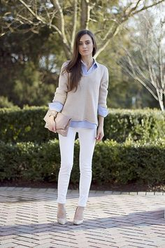 white denim / oatmeal sweater / chambray -- what to wear with my white jeans NOT just in summertime