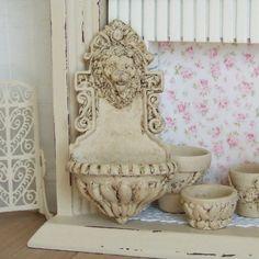 Dollhouse Miniature,  Cream Lion Fountain, Water Feature, Aged Bird Bath, Garden Wall Ornament, Shabby Cottage Chic, 1:12th Scale