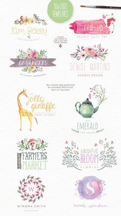 templates -- off! Magical Watercolors vol 3 by Lisa Glanz on Creative Marketbranding templates -- off! Magical Watercolors vol 3 by Lisa Glanz on Creative Market Watercolor Logo, Watercolor Animals, Branding Template, Logo Templates, Logo Branding, Font Logo, Design Templates, Art And Illustration, Illustrations