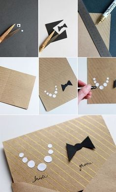 "Bride and Groom Invitation - 7 Amazing DIY Wedding Invitations ... [ more at http://wedding.allwomenstalk.com ] This simple and cute design is super easy to make. Cut varying size circles into white paper for the pearl necklace and a bow tie shape out of black paper. Glue these on to your cardstock of choice, and write the words ""bride"" and ""groom"" under their respective accessories with a calligraphy pen or Sharpie.... #Wedding #Envelope #Diy #Pretty #Cardstock #Tie"