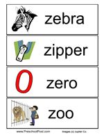 show the following words page 1 page 2 along with an accompanying picture to the children as you read them aloud zebra zero zi letter z pinte