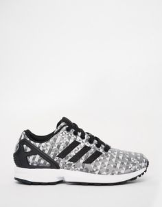 Adidas | adidas Originals ZX Flux Weave Black Geo Print Sneakers at ASOS