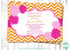 Citrus-  A Customizable Baby Shower or Bridal Shower Invitation by Best Impressions Paperie | Pink and Orange Invitation | Chevron Invitation