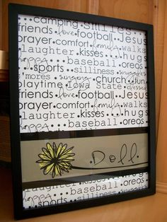 I would print out words that describe the family, including first names, add a decorative last name and frame it as a gift.