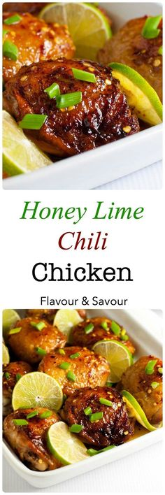 This recipe for 4-Ingredient Honey Lime Chili Chicken Thighs makes an easy weeknight meal. It's succulently sweet and spicy! |www.flavourandsavour.com