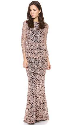 alice + olivia Regina Lace Peplum Gown love it short