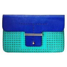 Ann Taylor - Perforated two-toned clutch