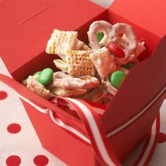 Snowflake Mix: 3 cups each bite-size rice & corn, square cereal, 1 cup small pretzel twists or pretzel sticks, 1 cup honey-roasted peanuts, 2 12 - oz package white baking pieces, 1 12 - oz package mint-flavored candy-coated milk chocolate pieces. Melt chocolate and stir together.